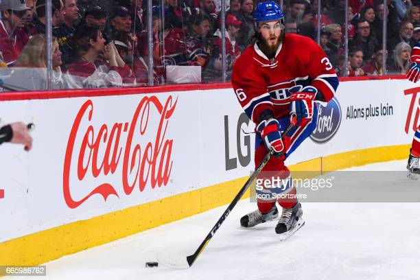 Montreal Canadiens Defenceman Brett Lernout getting to the puck during the Tampa Bay Lightning versus the Montreal Canadiens game on April 7 at Bell...