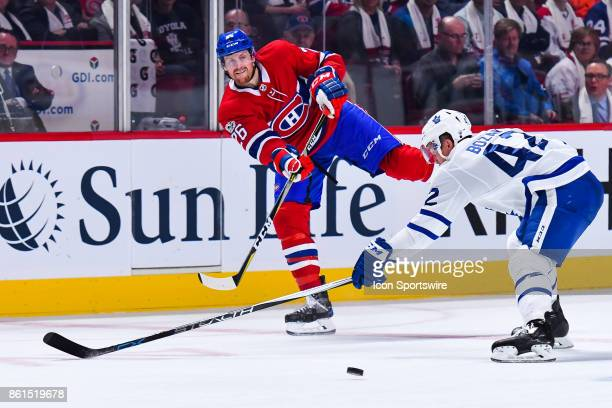 Montreal Canadiens Defenceman Jeff Petry passes the puck and Toronto Maple Leafs Center Tyler Bozak can't stop it during the Toronto Maple Leafs...