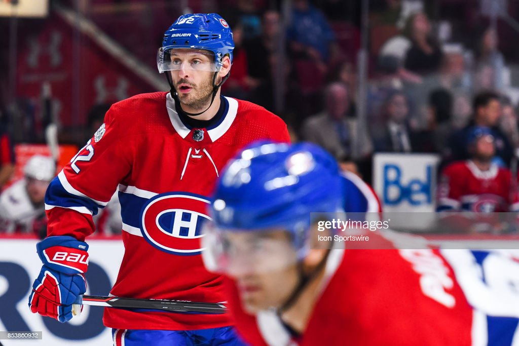 Montreal Canadiens defenceman Mark Streit (32) takes his position at faceoff during the Washington Capitals versus the Montreal Canadiens preseason game on September 20, 2017, at Bell Centre in Montreal, QC