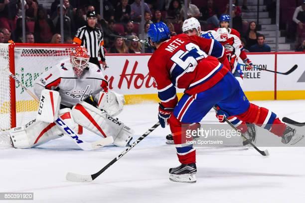 Montreal Canadiens defenceman Victor Mete shoots on Washington Capitals goalie Pheonix Copley during the Washington Capitals versus the Montreal...