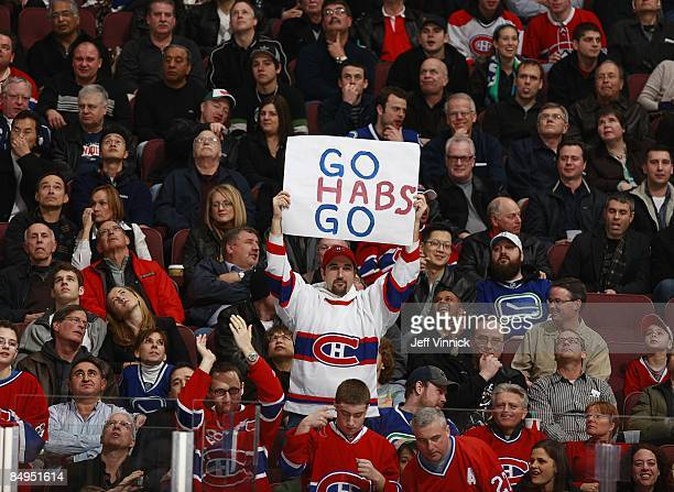 Montreal Canadiens fan look on from the crowd during the game between the Vancouver Canucks and the Montreal Canadiens at General Motors Place on...