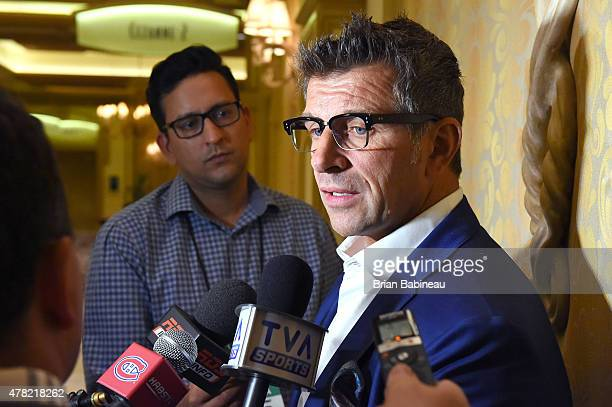 Montreal Canadiens general manager Marc Bergevin meets with the media following the NHL general managers meetings at the Bellagio Las Vegas on June...