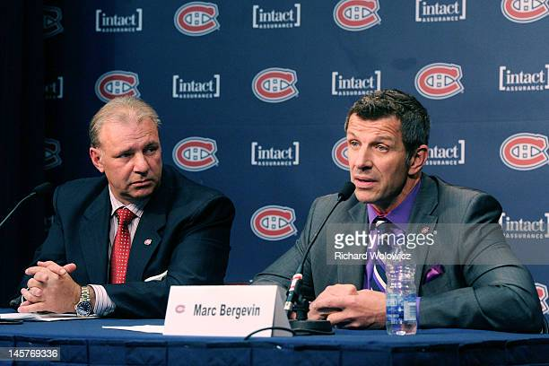 Montreal Canadiens General Manager Marc Bergevin speaks to members of the media after Michel Therrien as the new Head Coach of the Montreal Canadiens...