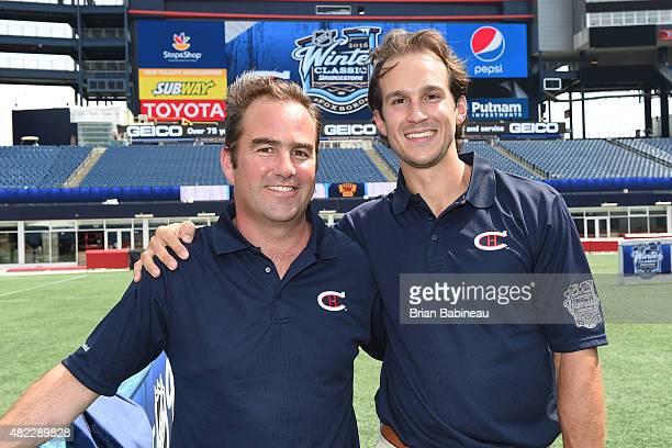 Montreal Canadiens GM Marc Bergevin and player Brian Flynn help announce the 2016 NHL Winter Classic at the Gillette Stadium on July 29 2015 in...