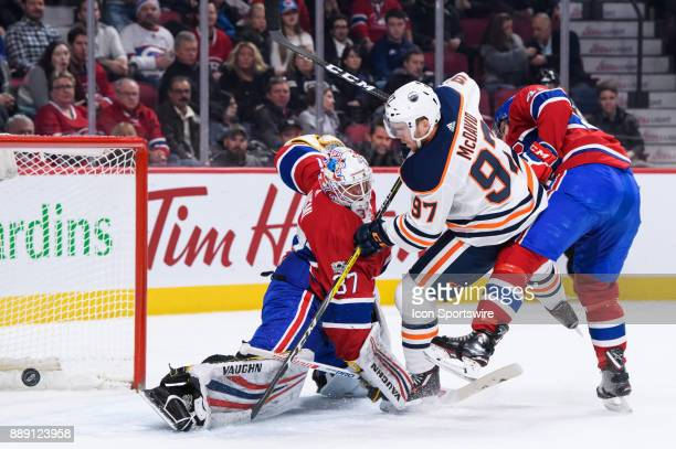 Montreal Canadiens goalie Antti Niemi makes a pad save against Edmonton Oilers center Connor McDavid during the second period of the NHL game between...