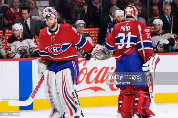 Montreal Canadiens goalie Antti Niemi replaces Carey Price during the second period of the NHL game between the Edmonton Oilers and the Montreal...