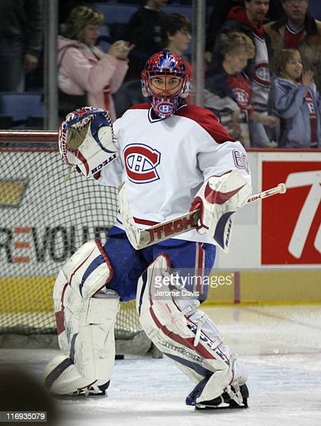 Montreal Canadiens' goalie Jose Theodore during the pregame warmups versus the Buffalo Sabres at the HSBC Arena in Buffalo NY February 09 2006 The...
