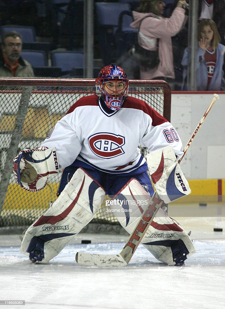 Montreal Canadiens' goalie <a gi-track='captionPersonalityLinkClicked' href=/galleries/search?phrase=Jose+Theodore&family=editorial&specificpeople=202011 ng-click='$event.stopPropagation()'>Jose Theodore</a> during the pre-game warm-ups versus the Buffalo Sabres at the HSBC Arena in Buffalo, NY, February 09, 2006. The Canadiens defeated the Sabres, 3 - 2 in overtime.