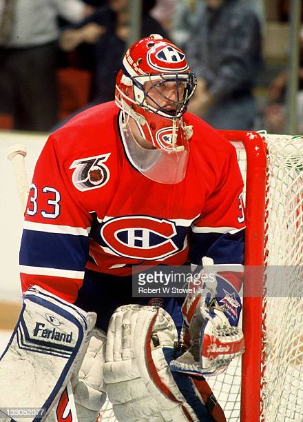 Montreal Canadiens goaltender Patrick Roy protects the post Hartford CT 1994