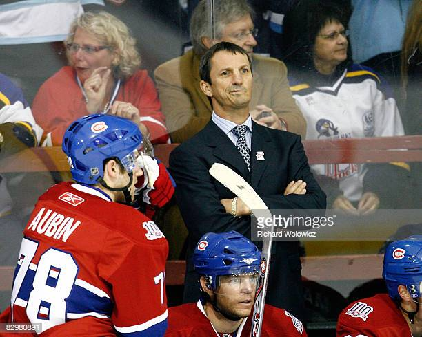 Montreal Canadiens Head Coach Guy Carbonneau reacts to a missed goal at the end of the first period during their game against the Buffalo Sabres at...