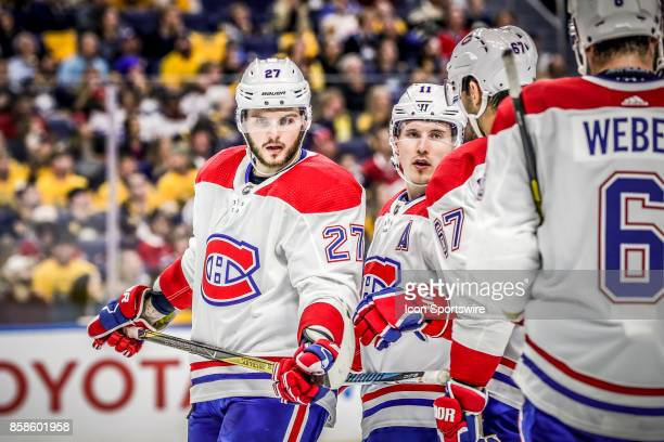 Montreal Canadiens Left Wing Alex Galchenyuk and teammates discuss strategy during the Montreal Canadiens and Buffalo Sabres NHL game on October 5 at...