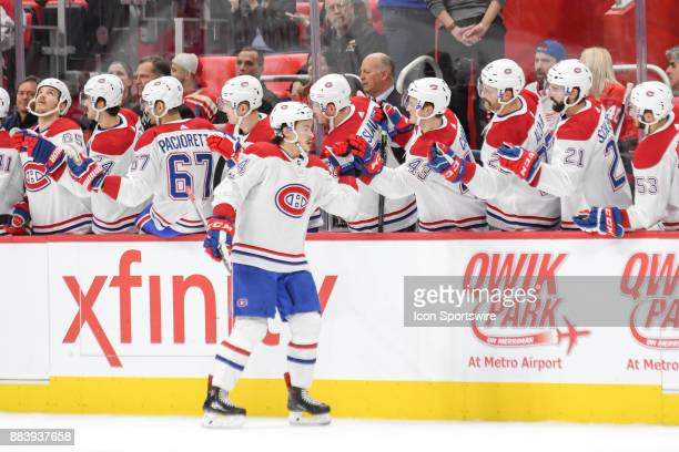 Montreal Canadiens left wing Charles Hudon celebrates his goal with the bench during the Detroit Red Wings game versus the Montreal Canadiens on...