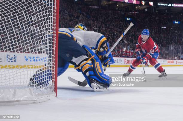 Montreal Canadiens left wing Charles Hudon in a breakaway against St Louis Blues goalie Jake Allen during the first period of the NHL game between...