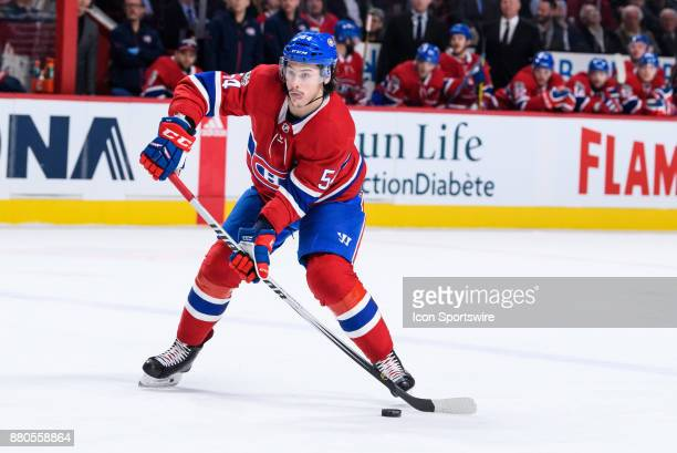 Montreal Canadiens left wing Charles Hudon makes a pass during the first period of the NHL game between the Columbus Blue Jackets and the Montreal...