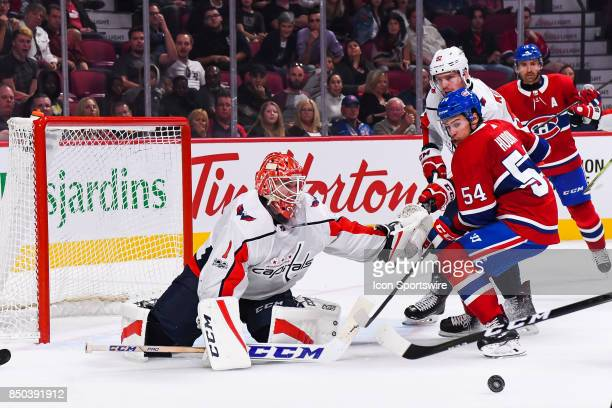 Montreal Canadiens left wing Charles Hudon misses a shot on Washington Capitals goalie Pheonix Copley during the Washington Capitals versus the...
