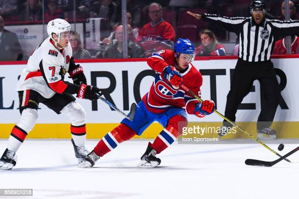 Montreal Canadiens left wing Charles Hudon reaches out for the puck during the Ottawa Senators versus the Montreal Canadiens preseason game on...