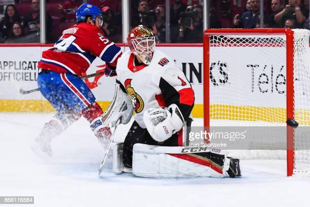 Montreal Canadiens left wing Charles Hudon shot hits the goal post of Ottawa Senators goalie Mike Condon during the Ottawa Senators versus the...