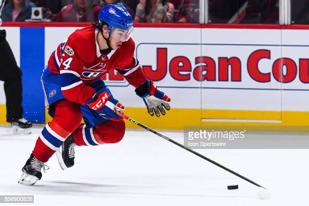 Montreal Canadiens left wing Charles Hudon skates in control of the puck during the Ottawa Senators versus the Montreal Canadiens preseason game on...