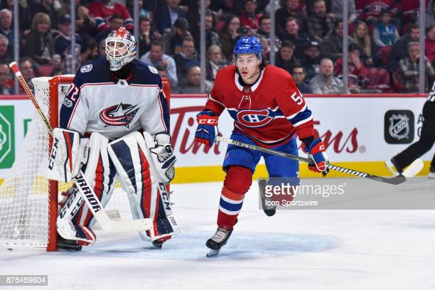 Montreal Canadiens left Wing Charles Hudon skates in front of Columbus Blue Jackets goalie Sergei Bobrovsky during the Columbus Blue Jackets versus...
