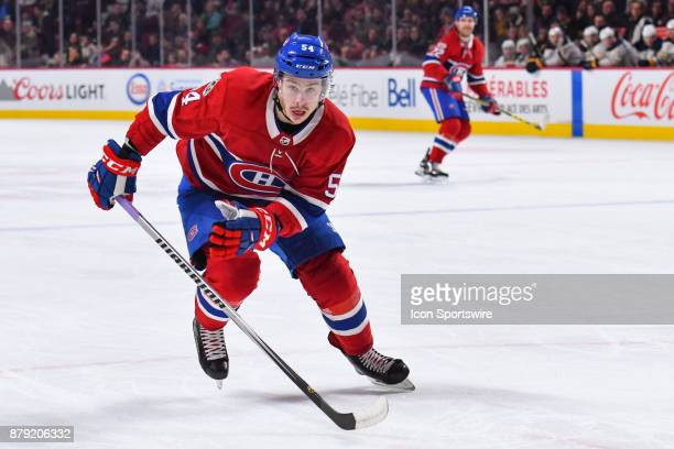 Montreal Canadiens Left Wing Charles Hudon skates towards the corner of the ice during the Buffalo Sabres versus the Montreal Canadiens game on...