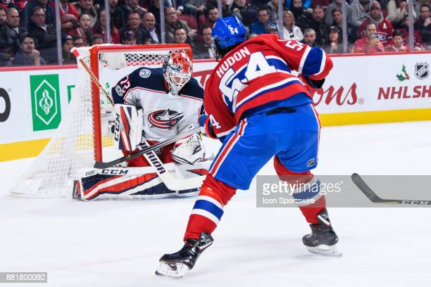 Montreal Canadiens left wing Charles Hudon takes a shot on net during the first period of the NHL game between the Columbus Blue Jackets and the...