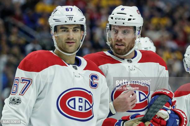 Montreal Canadiens Left Wing Max Pacioretty and Montreal Canadiens Defenseman Shea Weber talk strategy during the Montreal Canadiens and Buffalo...