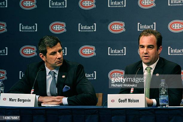 Montreal Canadiens owner Geoff Molson introduces Marc Bergevin as the teams new General Manager during a press conference at the Bell SportsPlex on...