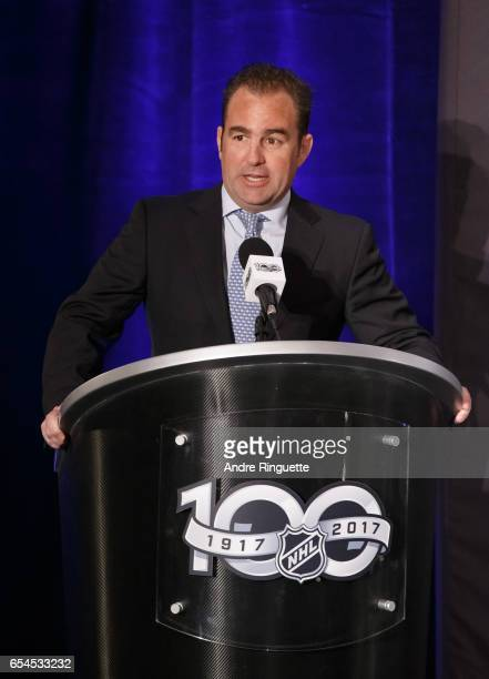 Montreal Canadiens Owner President CEO Geoff Molson speaks during the 2017 Scotiabank NHL 100 Classic announcement at the Chateau Laurier on March 17...