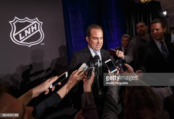 Montreal Canadiens Owner President CEO Geoff Molson speaks to media during the 2017 Scotiabank NHL 100 Classic announcement at the Chateau Laurier on...