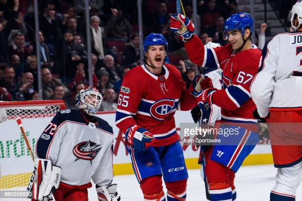 Montreal Canadiens right wing Andrew Shaw and Montreal Canadiens left wing Max Pacioretty celebrate as Montreal Canadiens center Jonathan Drouin...