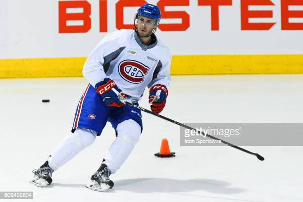 Montreal Canadiens Rookie center Alexandre Goulet skating around an obstacle during the Montreal Canadiens Development Camp on July 4 at Bell Sports...