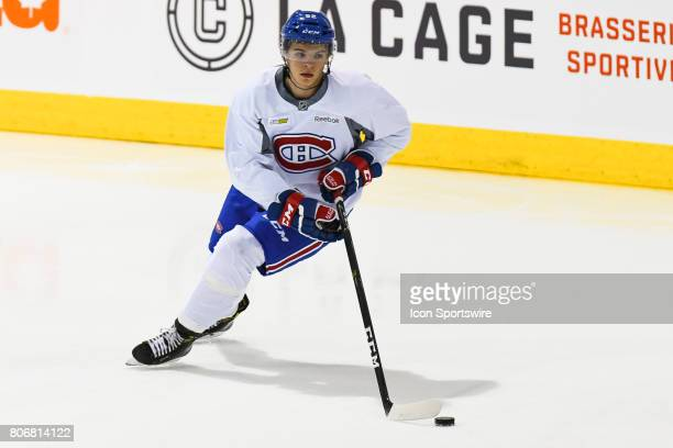 Montreal Canadiens Rookie center Jake Evans skating with the puck in an exercise during the Montreal Canadiens Development Camp on July 3 at Bell...