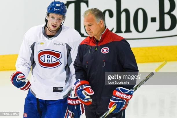 Montreal Canadiens Rookie center Lewis ZerterGossage discussing with coach during the Montreal Canadiens Development Camp on July 4 at Bell Sports...