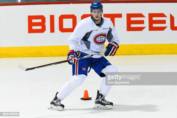 Montreal Canadiens Rookie center Lewis ZerterGossage skating around an obstacle during the Montreal Canadiens Development Camp on July 4 at Bell...