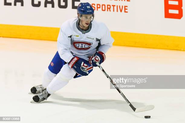 Montreal Canadiens Rookie center Lewis ZerterGossage skating with the puck in an exercise during the Montreal Canadiens Development Camp on July 3 at...