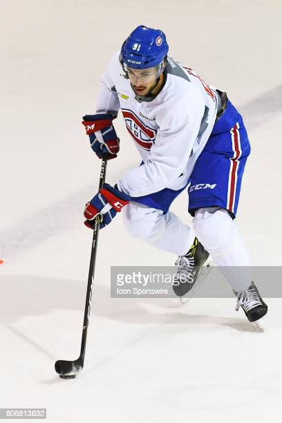 Montreal Canadiens Rookie center Niki Petti skating with the puck in an exercise during the Montreal Canadiens Development Camp on July 3 at Bell...