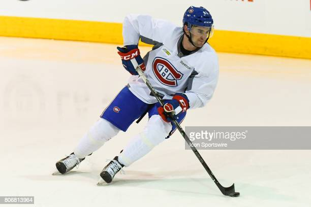 Montreal Canadiens Rookie center Thomas Ebbing skating with the puck in an exercise during the Montreal Canadiens Development Camp on July 3 at Bell...