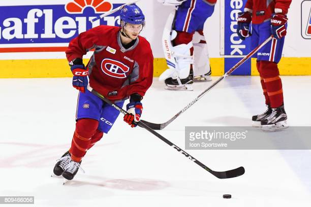 Montreal Canadiens Rookie defenseman Simon Bourque skating at warmup before a simulated game at the Montreal Canadiens Development Camp on July 5 at...