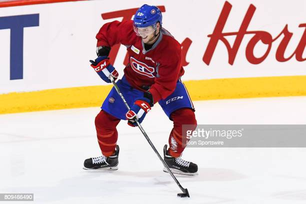 Montreal Canadiens Rookie defenseman Simon Bourque skating with the puck during the Montreal Canadiens Development Camp on July 4 at Bell Sports...