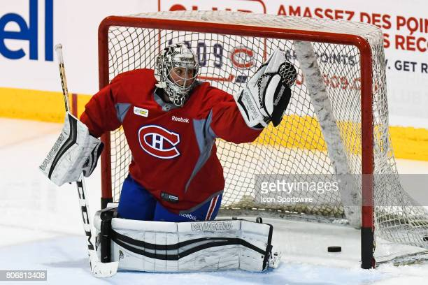 Montreal Canadiens Rookie goalie Hayden Hawkey taking shots during an exercise during the Montreal Canadiens Development Camp on July 3 at Bell...