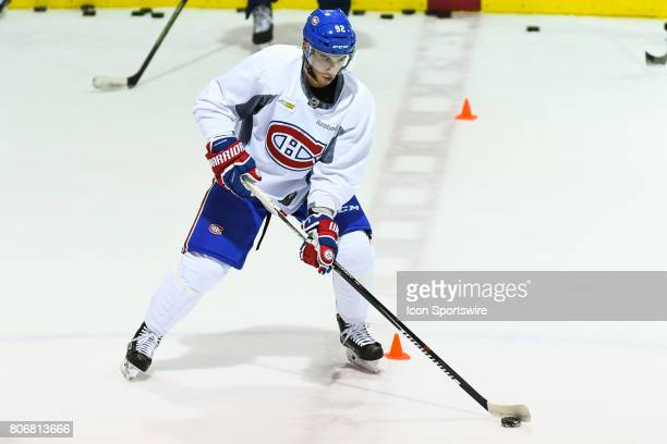 Montreal Canadiens Rookie left wing Brennan Saulnier skating with the puck in an exercise during the Montreal Canadiens Development Camp on July 3 at...