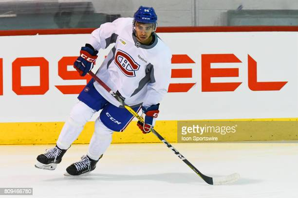 Montreal Canadiens Rookie left wing Jordan Boucher skating around an obstacle during the Montreal Canadiens Development Camp on July 4 at Bell Sports...