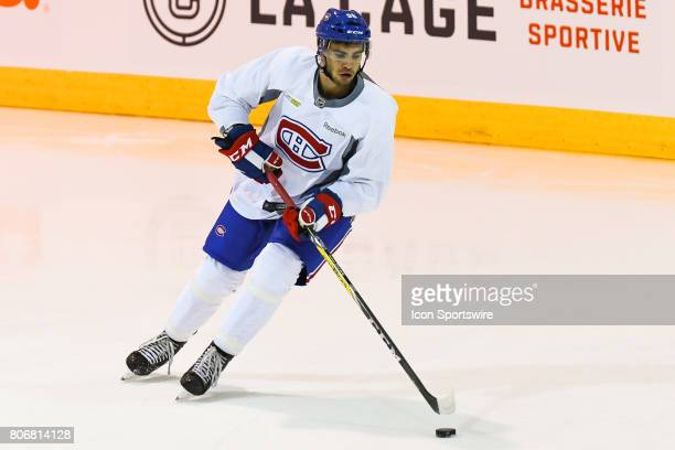 Montreal Canadiens Rookie left wing Jordan Boucher skating with the puck in an exercise during the Montreal Canadiens Development Camp on July 3 at...