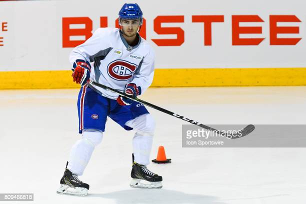 Montreal Canadiens Rookie left wing Robby Jackson skating around an obstacle during the Montreal Canadiens Development Camp on July 4 at Bell Sports...
