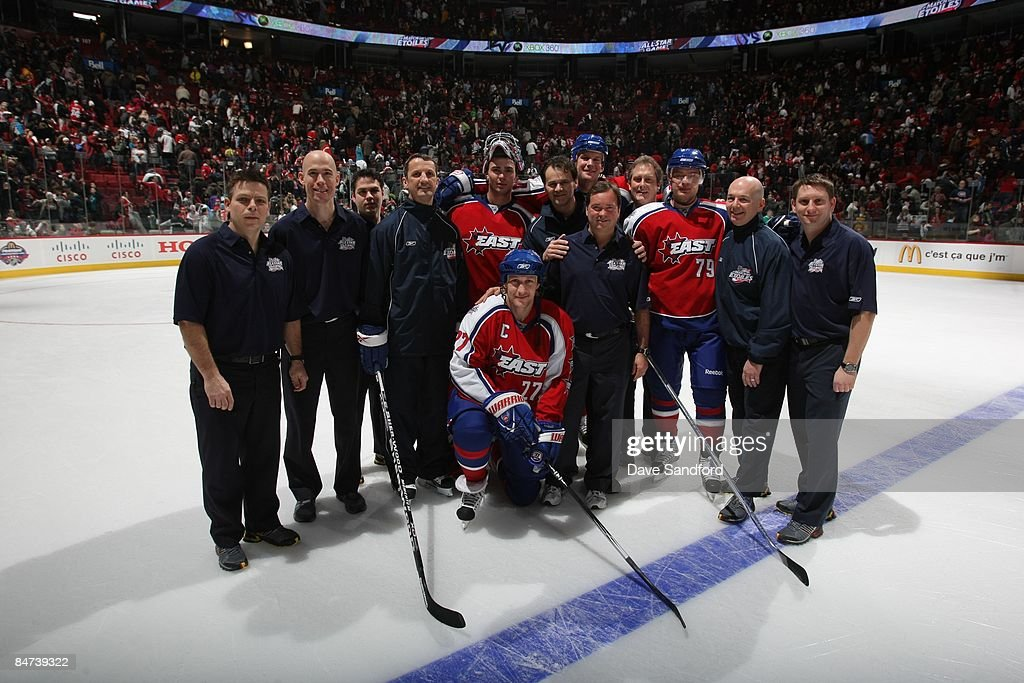 Montreal Canadiens staff and players pose for a photo during the McDonalds/NHL All-Star open practice as part of the 2009 NHL All-Star weekend on January 24, 2009 at the Bell Centre in Montreal, Canada.