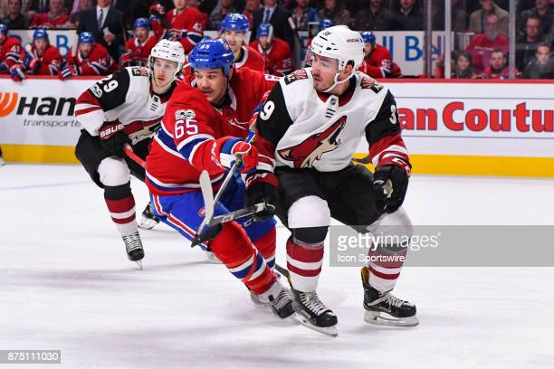 Montreal Canadiens Winger Andrew Shaw trying to change direction while skating but blocked by Arizona Coyotes Defenceman Joel Hanley during the...