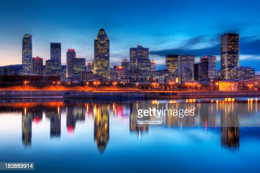 Montreal Cityscape Reflection at Sunset