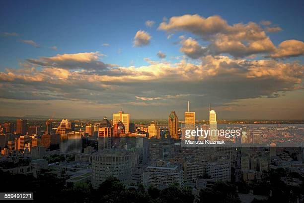 Montreal Downtown sunset view from Mount Royal