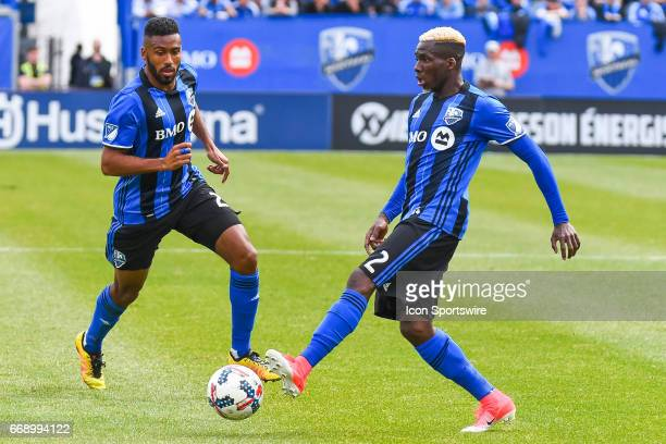 Montreal Impact defender Ambroise Oyongo passing the ball to Montreal Impact Forward Anthony JacksonHamel during the Atlanta United FC versus the...