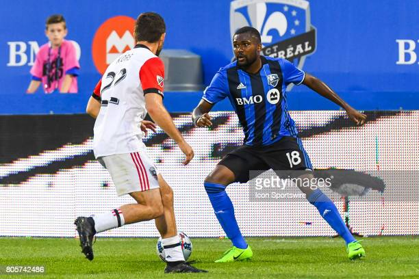 Montreal Impact defender Chris Duvall looking to pass the ball while facing DC United defender Chris Korb during the DC United versus the Montreal...